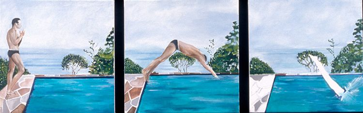If a Man Dives into a Pool and No One is There to See it...?  |  3@ 24 x 24  Acrylic on Canvas SOLD