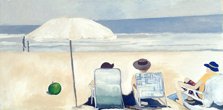 3 on a Beach with an Apple |  18 x 36 Acrylic on Canvas SOLD
