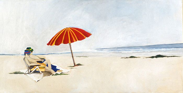 2 on a Beach with a Red Umbrella | 18 x 36 Acrylic on Canvas SOLD