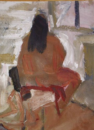 Back View Seated Woman  |  9 x 12 Oil on Paper