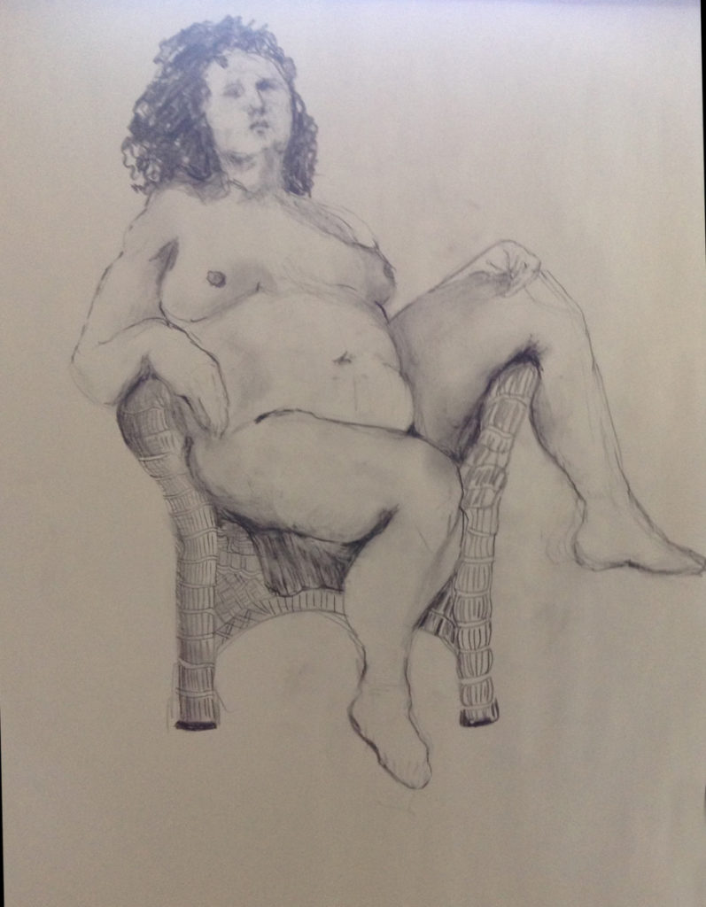 Nude on a chair | 18 x 24 Newsprint paper
