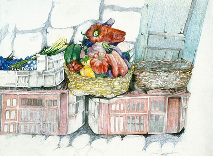 Positano Market | 12 x 16  Colored Pencil on Paper