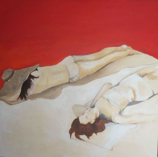 Sunbathing on a Red Planet |  48 x 48  Oil on Canvas